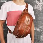 Genuine Leather Chest Bag Vintage Cowhide
