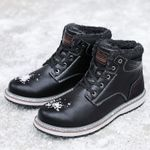 Warm Plush Snow Waterproof Leather Ankle Boot