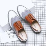 genuine leather brogues oxford flats shoes