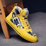 Fashion Casual Shoes Student Graffiti Yellow Canvas