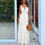 Long Sexy Dress Boho Sleeveless V Neck Beach Sundress