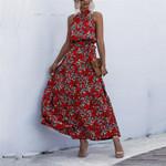 Dot&Floral Print Boho Long Dress Party Beach Dress