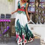 Boho Dresses Floral Printed Fashion Collect Waist Sleeveless