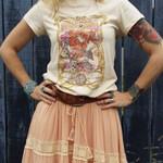 Duty Angel Printed Khaki T Shirt Boho Gypsy Girl Print