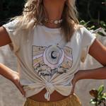 T-shirt Top Boho Print Cosmic Dream Retro Tees Gypsy