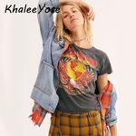 Vintage Graphic Tee Gray Letter Print T-shirt