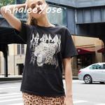 Black T-shirt Vintage Leopard Printed Tees Female