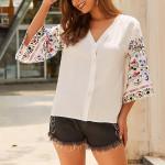 Boho Vintage Floral Print Blouse Shirt