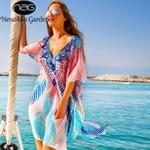 Chiffon Print Blouse Batwing Sleeve Loose Beach Blouses