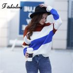 Fitshinling Casual New Turtleneck Sweaters Contrast