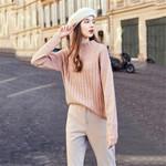 New Ladies Pink Sweater Fashion Splice Sweater