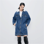 New Ladies Jacket Fashion Fleece Denim Jacket