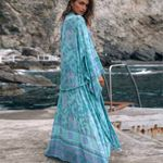 long kimono Boho Blouse Shirts Blue Buttercup