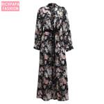 Plus Size Boho Abaya Kimono Muslim  Floral Chiffon
