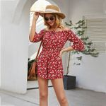 Boho Femme Playsuits Rayon Red Romper Bodysuits