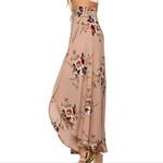 High-Waisted Skirt Boho Asymmetrical Split Ends Flowers