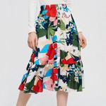Bohemian Skirt Midi Skirts with Ruffle Hem Vintage