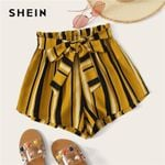 Paperbag Waist Self Belted Striped Shorts