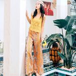 boho ethnic style high waist retro printed wide leg pants