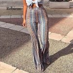 Striped Printed New Boho Flare Pants High Elastic Waist