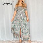 Boho floral print dress Off shoulder strap ruffled high waist