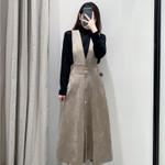 Imitation Leather Strap Mid Calf Dress V Neck