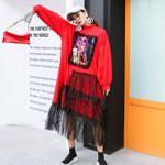 Mesh Spliced Tassel Midi Dress Oversize Long Sleeve