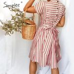 Striped dress Casual buttons strap short sleeve
