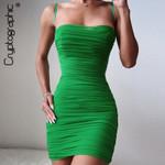 Sleeveless Straps Sheer Mesh Hot Sexy Mini Dresses