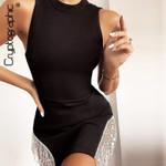 Sexy Sleeveless Fringe Diamond Sexy Mini Dresses