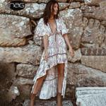 Boho Long Dress Clothes Beach Flower Print V Neck