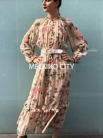 Zim Brand Long Sleeved Kirra Maxi Length Silk dress
