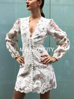 Zim Brand Mini Zinnia Scallop Applique Buttons Decorated Dress