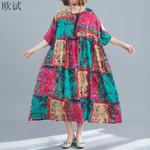 Plus Size Plaid Floral Boho Beach Dress