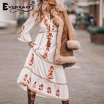 Long Dress Boho Embroidery Floral Vestidos Gypsy