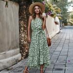 dots Print Boho Long Dress Ruffles Wrap Casual Split
