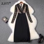 Elegant Lady Dress New Runway Designer Fashion V Neck