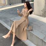 Elegant Double-Breasted V-Neck Lace-up Belt Office Lady Dress
