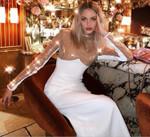 Luxury Sexy Long Sleeve Sequins Sparkly White Bandage Dress
