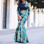 Vintage Green Long Sleeve Mermaid Sequins Dress