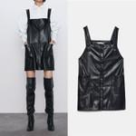 Leather Elegant Fashion mini Dress Sleeveless