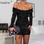 Off Shoulder Sexy Glitter Party Dress Black Blue Ruched