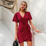 Sexy red party dress solid ruffled wrap sash mini dress