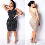 Sexy One Shoulder Bright Diamond  Elegant Party Dress