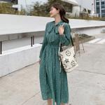 Bow-neck Polka Dots Female Dress Full Sleeve