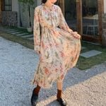 Vintage Floral Print Chiffon Dress Full Sleeve Lace-up