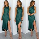 Elegant Retro Long Dress Satin Silk Sleeveless Split Maxi Dress