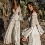 Girl Bohoartist Dress Long Flare Sleeve V Neck
