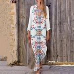 Long Sleeve Boho Cotton Casual Linen Maxi Dress