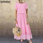 Bohemian Sundress Dot Printed Long Maxi Dress